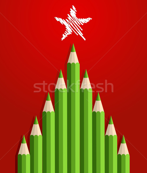 鉛筆 クリスマスツリー 緑 グリーティングカード レイヤード 簡単 ストックフォト © cienpies