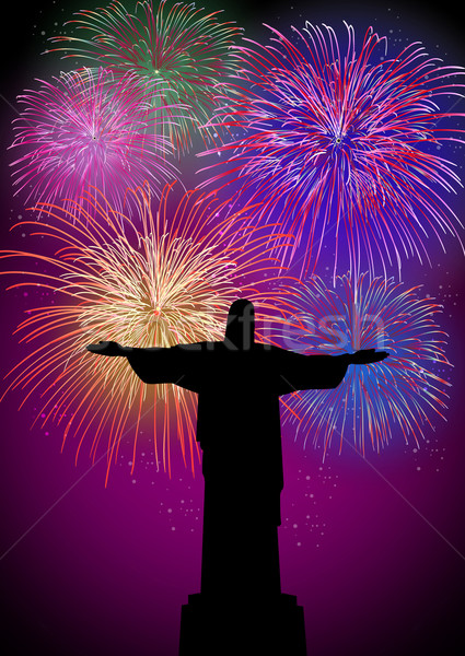 Happy New Year fireworks in Rio Brazil Stock photo © cienpies