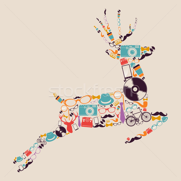 Retro hipsters icons reindeer. Stock photo © cienpies