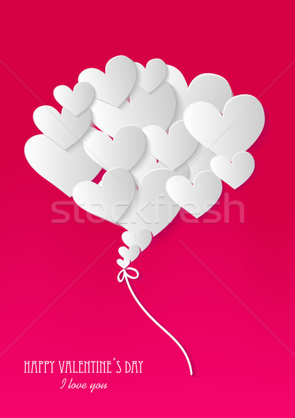 Happy Valentine`s day heart love card Stock photo © cienpies