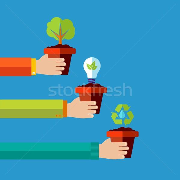 Foto stock: Humanos · verde · diseno · medio · ambiente · energía · renovable · ilustración