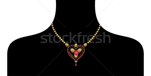 black female silohuette with golden neckless Stock photo © cienpies