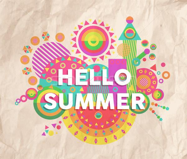 Hello summer quote poster design Stock photo © cienpies