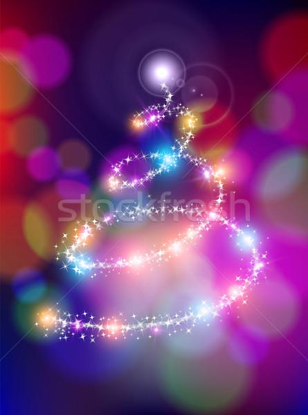 Vrolijk christmas bokeh star pijnboom vakantie Stockfoto © cienpies