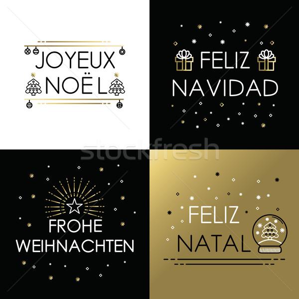 Merry christmas gold line international navidad Stock photo © cienpies