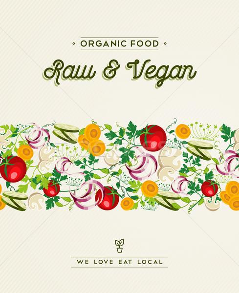 Nyers vegan étel terv zöldség dekoráció Stock fotó © cienpies