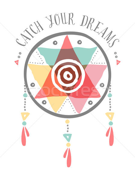 Catch your dreams boho tribal color dreamcatcher Stock photo © cienpies
