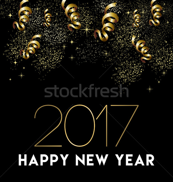 Happy New Year 2017 gold party decoration card Stock photo © cienpies