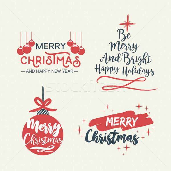 Christmas lettering holiday season retro quote set Stock photo © cienpies