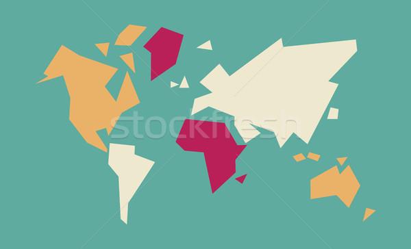 аннотация Мир карта геометрический иллюстрация искусства красочный Сток-фото © cienpies
