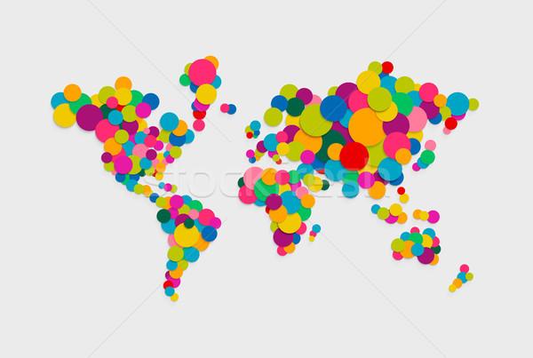круга Мир карта современных цвета иллюстрация красочный Сток-фото © cienpies