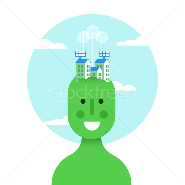 Stock photo: Think green idea concept with eco friendly man