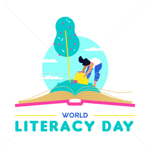 Literacy Day card for people education worldwide Stock photo © cienpies