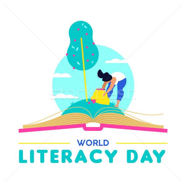 Alphabétisation jour carte personnes éducation partout dans le monde Photo stock © cienpies