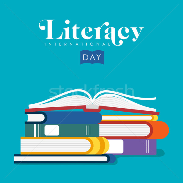 Literacy Day illustration of kids school books  Stock photo © cienpies