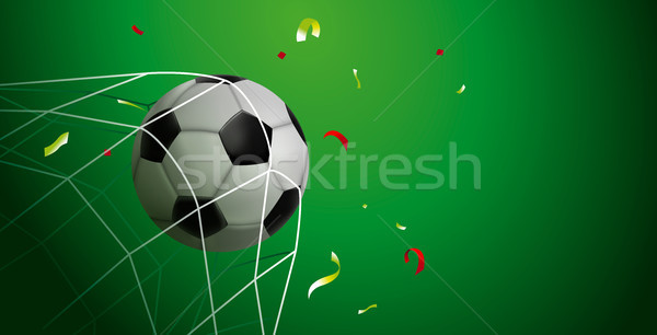 Soccer ball goal web banner of sport game event Stock photo © cienpies