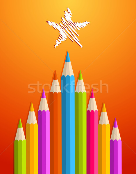 Art pencils Christmas tree Stock photo © cienpies