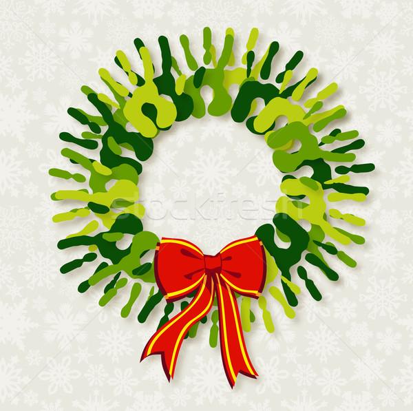 Diversity green hands Christmas wreath. Stock photo © cienpies