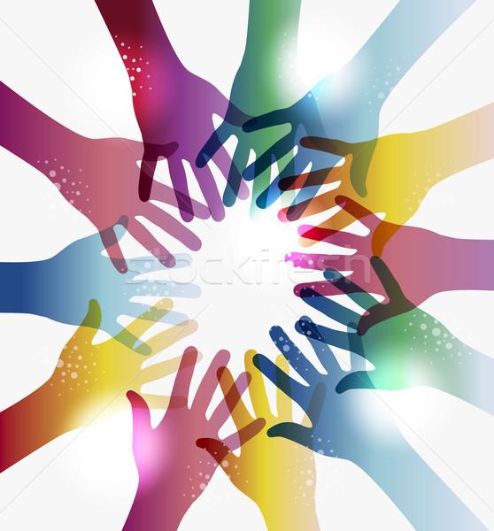Rainbow transparency hands circle Stock photo © cienpies