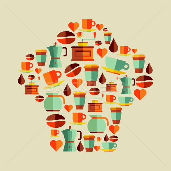 Kávé ikonok szakács sapka szett forma réteges Stock fotó © cienpies