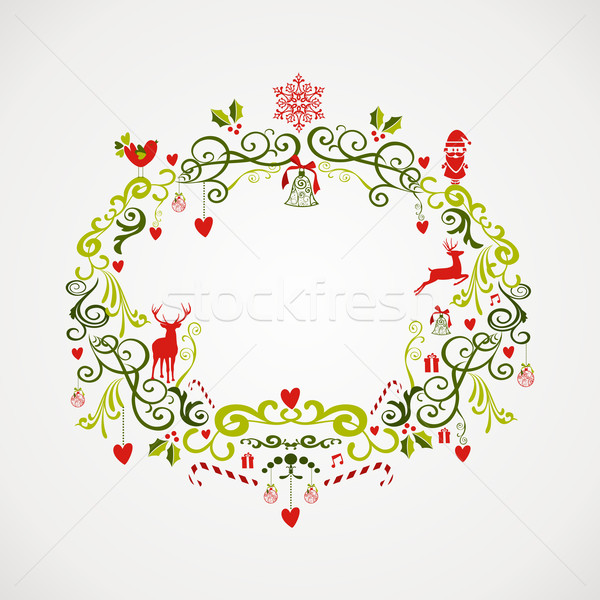 Vintage Christmas elements mistletoe design EPS10 file. Stock photo © cienpies