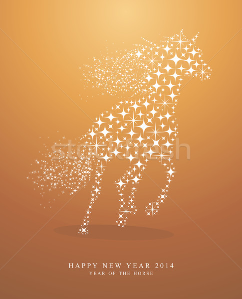 Happy New Year of horse 2014  Stock photo © cienpies