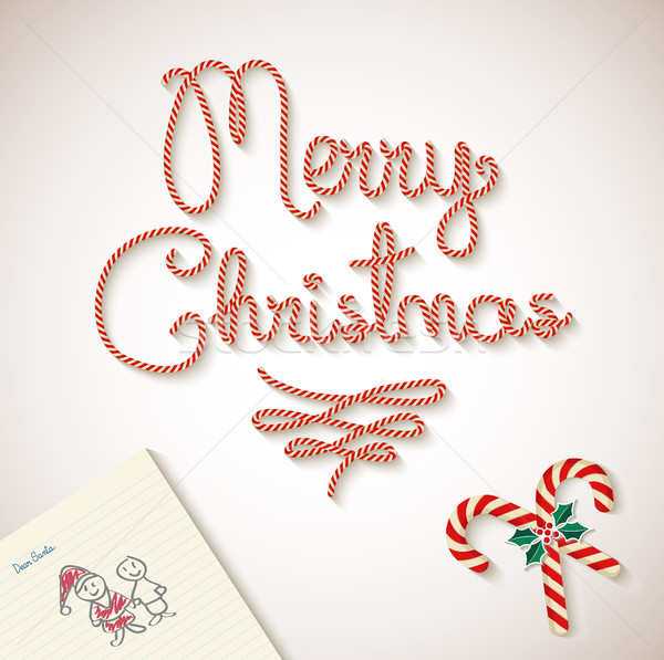 Merry Christmas dear santa sketchy letter Background Stock photo © cienpies