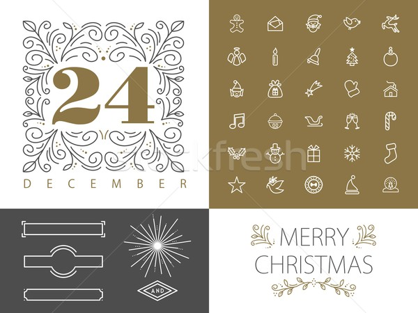 Retro monogram lijn ingesteld christmas ontwerp Stockfoto © cienpies