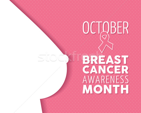 Breast cancer awareness poster woman silhouette Stock photo © cienpies