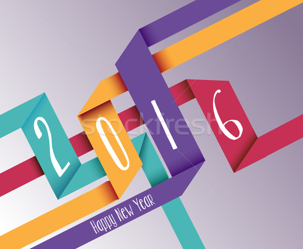 Happy new year 2016 simple origami background Stock photo © cienpies
