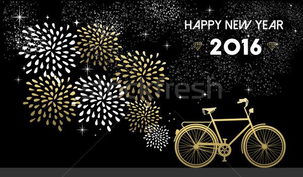 Nouvelle année 2016 vélo or nuit Photo stock © cienpies