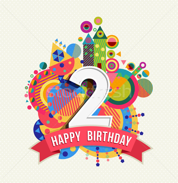 Happy birthday 2 year greeting card poster color Stock photo © cienpies