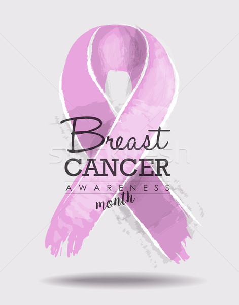 Breast cancer awareness ribbon art with typography Stock photo © cienpies