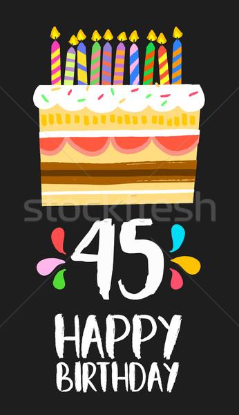 Joyeux anniversaire carte quarante cinquième année gâteau Photo stock © cienpies