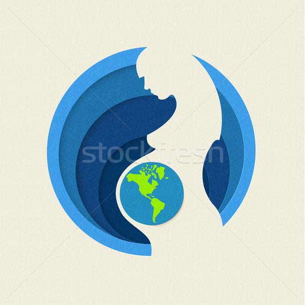 Dia da terra mãe natureza ilustração mulher grávida Foto stock © cienpies