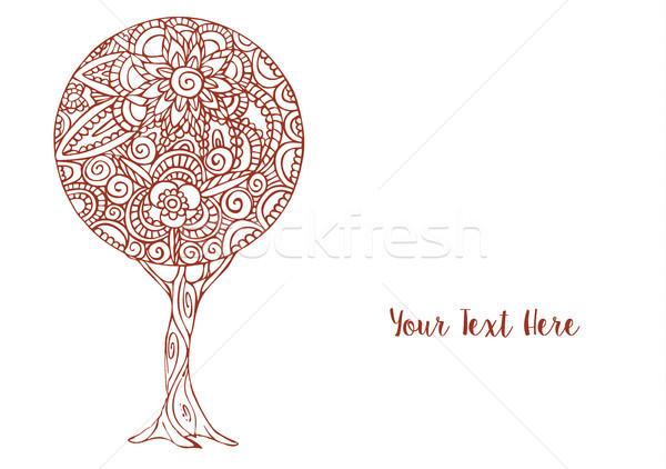 Flor árvore mandala arte decoração ilustração Foto stock © cienpies