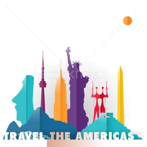 Travel the Americas paper cut world monuments Stock photo © cienpies