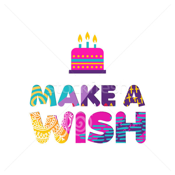 Happy birthday cake wish paper cut greeting card Stock photo © cienpies