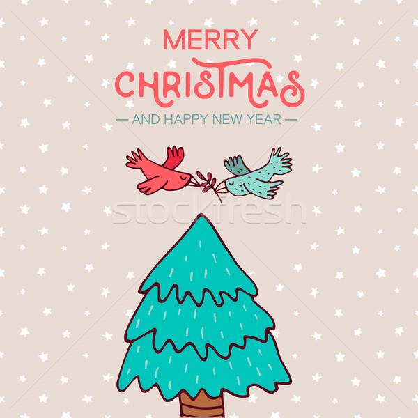 Christmas nieuwjaar vogels pijnboom cartoon vrolijk Stockfoto © cienpies