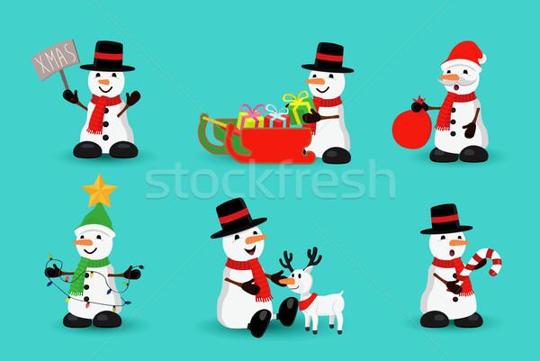 Zdjęcia stock: Christmas · snowman · funny · wakacje · cartoon · zestaw