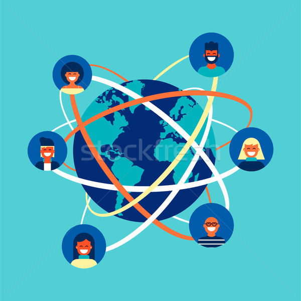 Global internet social network people team concept Stock photo © cienpies