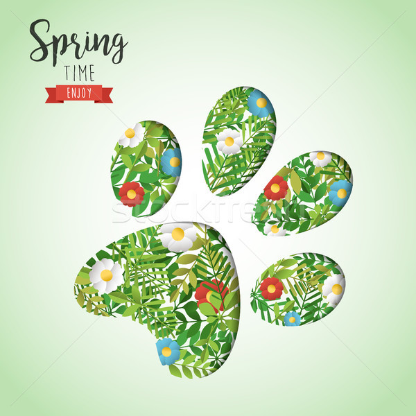Spring time animal paw paper cutout greeting card Stock photo © cienpies