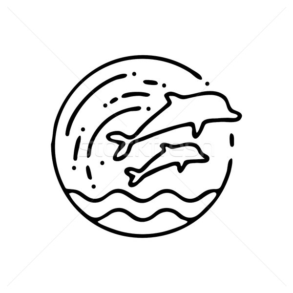 Handmade beach dolphin icon in linear style Stock photo © cienpies