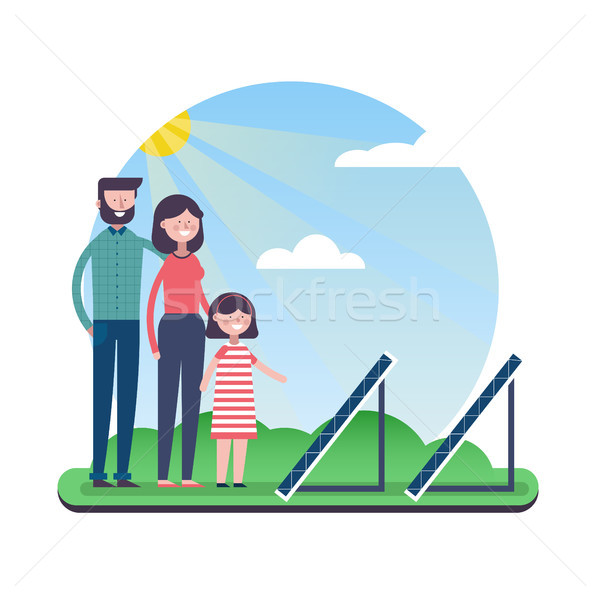 Eco friendly family with solar panels outdoor Stock photo © cienpies