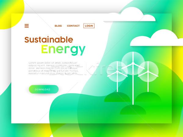 Milieuvriendelijk online web landing pagina sjabloon Stockfoto © cienpies