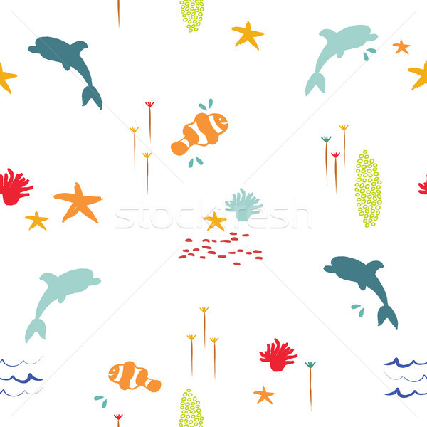 Sea fish doodle summer pattern background Stock photo © cienpies