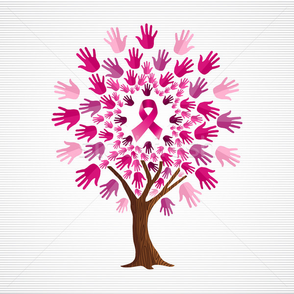 Mellrák tudatosság fa rózsaszín szalagok hónap Stock fotó © cienpies