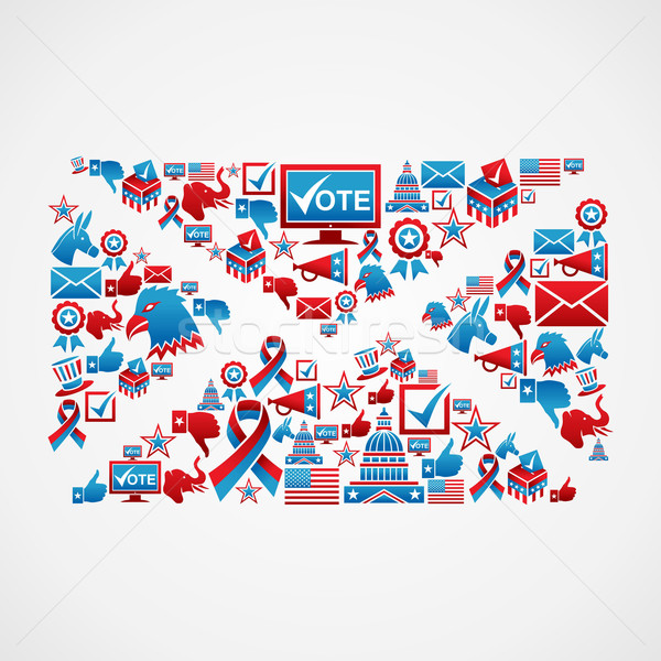 Stock photo: US election icons mail shape