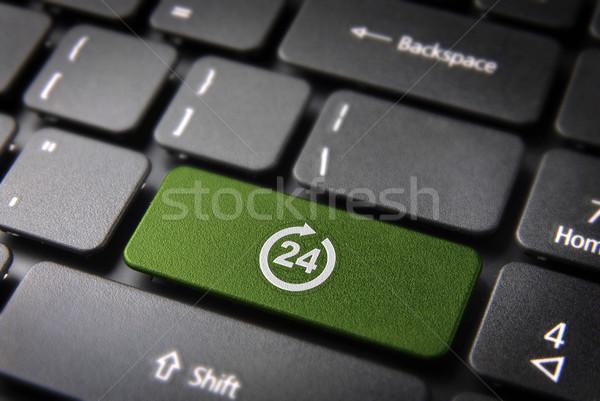 Online business sempre open verde chiave Foto d'archivio © cienpies