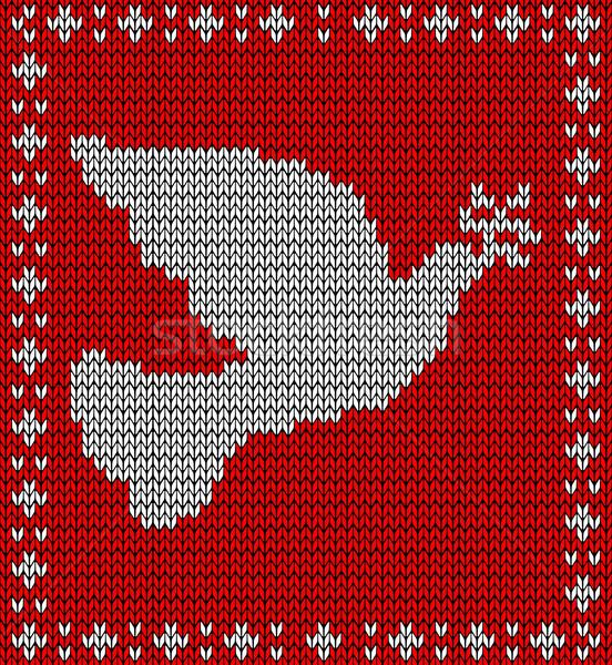 Christmas knitting dove pattern Stock photo © cienpies